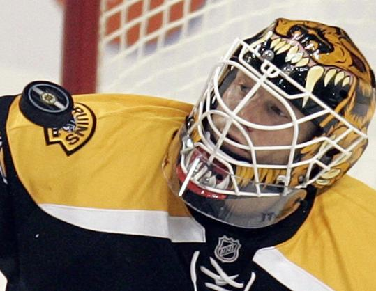 With the Bruins' offense faltering, Tim Thomas has to keep a close watch on nearly every shot.