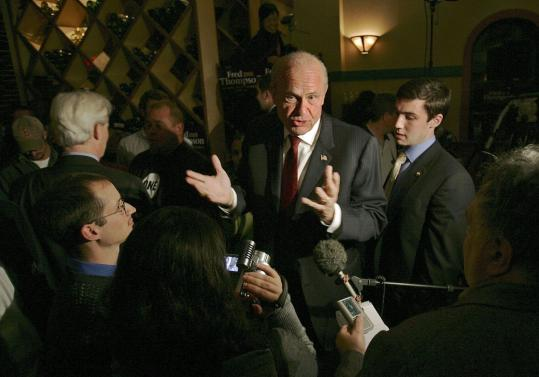 Presidential hopeful Fred Thompson, former senator from Tennessee, left after a campaign stop Monday in Dover, N.H.