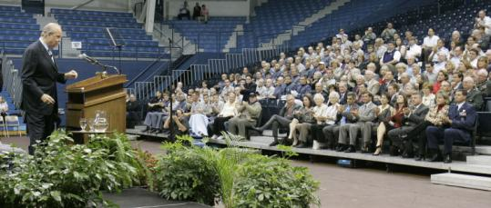 Republican presidential candidate Fred Thompson spoke yesterday at The Citadel, a military college in Charleston, S.C.
