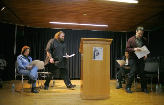 Presenting their favorites at a recent 'sometimes annual' gathering in Cambridge are Bad Poets Society members (from left) Lin Nulman, Colin Buckley, Sarah Bazydola, and Gene Doucette.