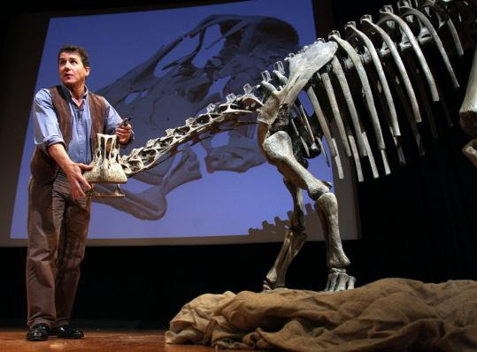 Paleontologist Paul Sereno unveiled findings yesterday in Washington, D.C., about the Nigersaurus, a plant-eating dinosaur. .