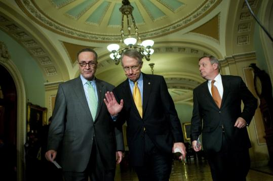 From left, Democratic senators Charles E. Schumer, Harry Reid, and Richard J. Durbin spoke to reporters after Republicans blocked a $50 billion war-spending bill by Democrats yesterday.