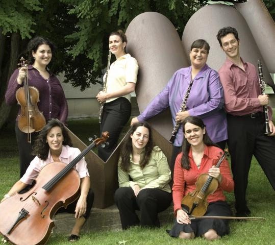 Clockwise from top left: Wendy Richman, viola; Alicia DiDonato, flute; artistic director Jennifer Montbach, oboe; Eran Egozy, clarinet; Gabriela Diaz, violin; Sarah Bob, piano; and Miriam Bolkosky, cello.