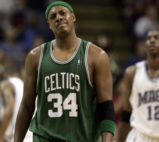 His missed 27-foot fadeaway just before the buzzer left Paul Pierce at a loss as the Celtics forward heads for the locker room.