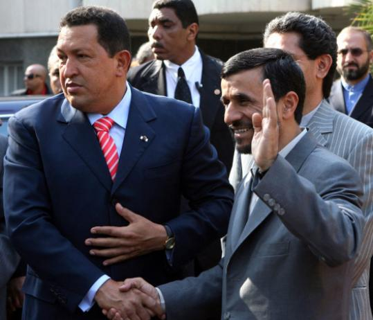 Iranian President Mahmoud Ahmadinejad (right) welcomed his Venezuelan counterpart Hugo Chávez in Tehran yesterday. The visit was Chávez's fourth trip to Iran in two years.