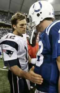 Tom Brady (left) has surged past friend - and foe - Peyton Manning of the Colts in balloting for Pro Bowl quarterback.