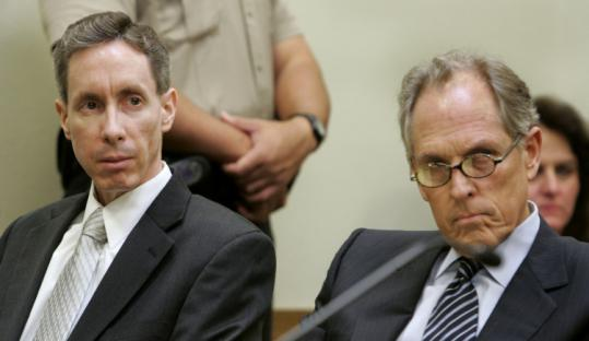 Warren Jeffs (left), with his lawyer yesterday, was convicted as an accomplice to rape in the marriage of a 14-year-old girl.