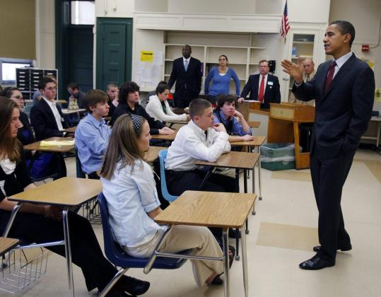 Democratic presidential candidate Barack Obama talked to students at Manchester Central High School yesterday. Obama answered questions about the Iraq war and touted proposals to improve education that could cost $18 billion a year.