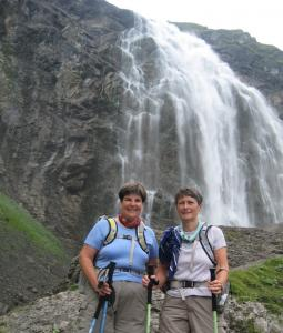 Laura Russell, left, of Boxborough and Lesley Murray of Acton at Engstligen Falls near Adelboden, Switzerland.