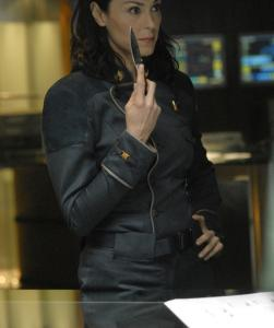 In 'Battlestar Galactica: Razor,' Michelle Forbes plays Helena Cain as a dragon lady with a deep need for revenge.