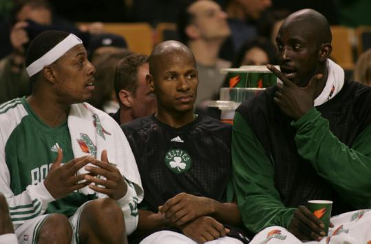 With the Celtics leading comfortably in the fourth, Paul Pierce, Ray Allen, and Kevin Garnett were afforded time to kick back.