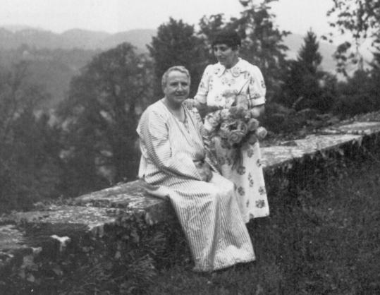 Gertrude Stein (left) and her companion, Alice B. Toklas, in Bilignin, France, 1938.