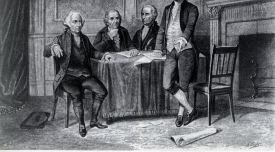 John Adams, Gouverneur Morris, Alexander Hamilton, and Thomas Jefferson joined forces as leaders of the Continental Congress. Their interests would later diverge.