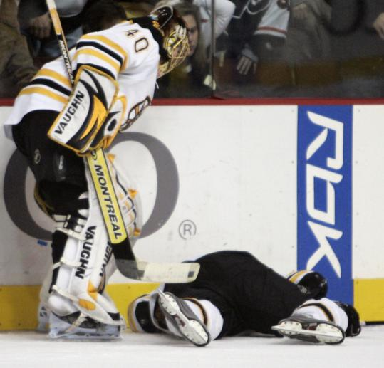 Tuukka Rask rushed over to teammate Andrew Alberts after the defenseman was leveled by the Flyers' Scott Hartnell.