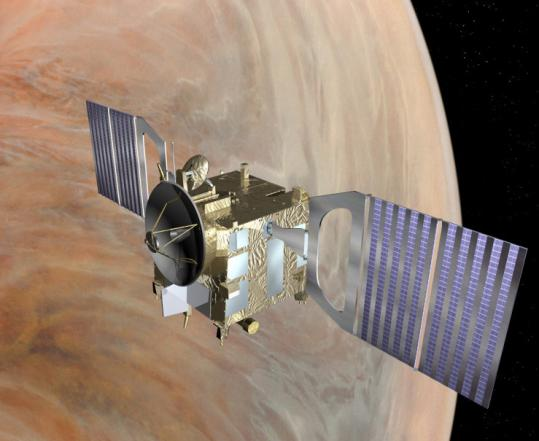 In an artist's rendering, the Venus Express orbits the planet. Scientists yesterday detailed the European probe's research.