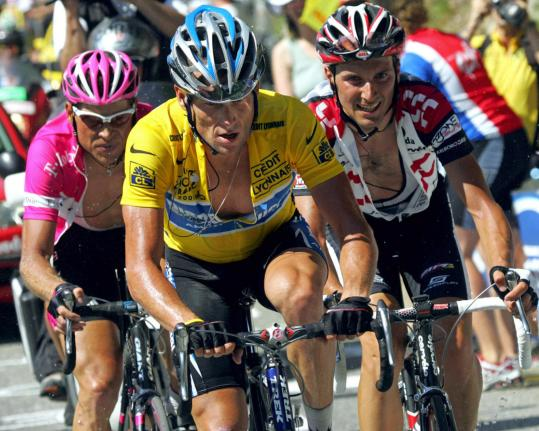 Champion cyclist Lance Armstrong (center) has more powerful mitochondria, the 'power packs of the cell,' a Harvard professor says. Sirtris Pharmaceuticals drug molecules could help boost patients' mitochondria. Human testing begins next year.