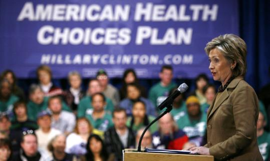 Hillary Clinton spoke about healthcare at Des Moines Area Community College in Ankeny, Iowa. She said Barack Obama's healthcare plan would leave many without coverage.