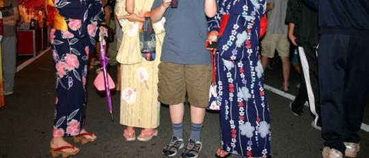 Eric Rizzotti enjoys Ise, Japan, site of an important Shinto shrine, with some friends dressed up for a festival that night.
