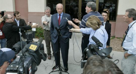 Republican candidate Fred Thompson spoke to reporters after a fund-raiser in Phoenix yesterday. He has launched a new Internet ad asserting that he is 'the true conservative.'