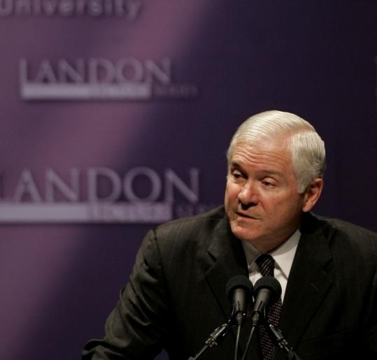 Defense Secretary Robert Gates spoke of the US military's involvement in aid work at Kansas State University last week.