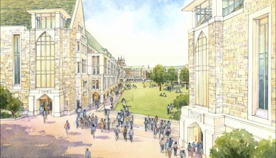 A quadrangle and walkway on BC's middle campus will link the area to other campuses.