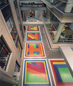 Made of epoxy terrazzo, a mix of colored epoxy and glass beads, Sol LeWitt's floor mural is hidden at MIT's Green Center.