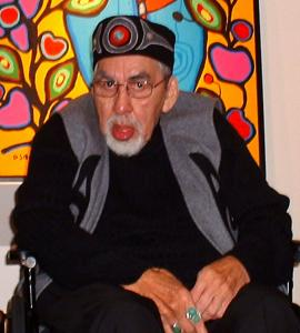 Artist Norval Morrisseau during an exhibition opening in 2004 at Kinsman Robinson Galleries in Toronto.