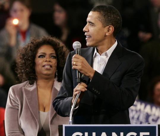 Senator Barack Obama of Illinois was backed by Oprah Winfrey yesterday in Des Moines.
