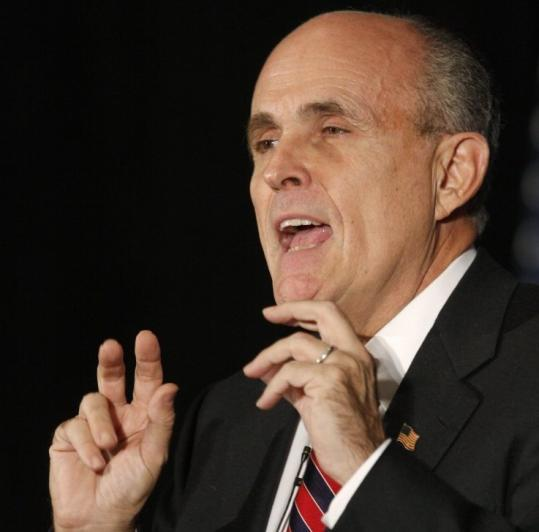 Presidential candidate Rudy Giuliani spoke to the National Italian/American Sports hall of Fame in Chicago on Friday.