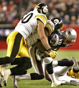 Jabar Gaffney (seven catches, 122 yards) drags several Steelers for some extra real estate late in the game.
