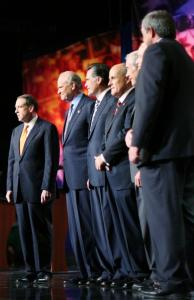 Republican presidential candidates (left to right), former Arkansas governor Mike Huckabee, former senator Fred Thompson, former Massachusetts governor Mitt Romney, former New York mayor Rudy Giuliani, Representative Ron Paul of Texas, Senator John McCain of Arizona, and Representative Duncan Hunter of California stood onstage prior to the debate last night.
