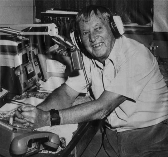 Fred B. Cole, at the microphone at WRPS-FM in Rockland. He began his on-air career in 1935.