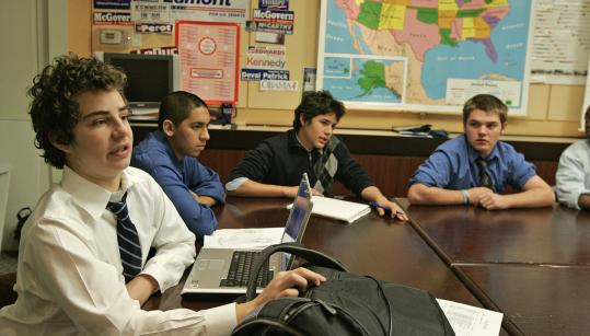Hillside School student Matt Bernbaum makes a point during a peace studies class at the private boarding school in Marlborough, with his fellow ninth-graders including (from his left) Carlo Longinotti, Andres Cano, and Spike Peterson.
