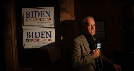 Democratic candidate Joe Biden volunteered at a benefit at a Des Moines restaurant on Thanksgiving. The candidate of passion in 1988, Biden is now emphasizing expertise.