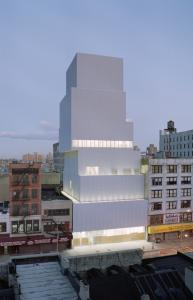 The New Museum of Contemporary Art's first permanent home is both functional and eye-catching with its series of vertical galleries wrapped in a silvery mesh of aluminum.