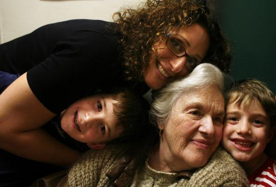 Actor/comedian Judy Gold, star of the show '25 Questions for a Jewish Mother,' with her mother, Ruth, and her two sons.