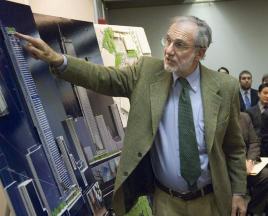 Architect Renzo Piano presents his designs for a tower at a Boston  Redevelopment Authority meeting earlier