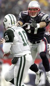Rodney Harrison and the Patriot defense made things difficult for Jets QB Chad Pennington, who came on in relief.