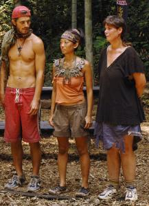 Survivors Erik Huffman, Peih-Gee Law, and Denise Martin (right) prepared for a challenge.