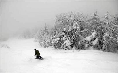 Skiing fresh powder at Mad River Glen ski area Waitsfield, Vermont.