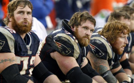 Offensive linemen Matt Light (left), Logan Mankins, and Dan Koppen will head to Hawaii after the season for the Pro Bowl.