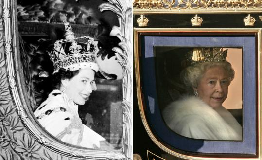 A combination of photographs shows Britain's Queen Elizabeth II in the royal carriage after she was crowned in June 1953 and last month after the State Opening of Parliament.