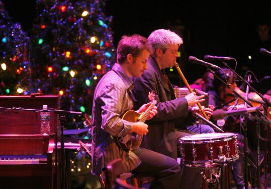 The band Solas performed Thursday during Celtic Sojourn's holiday celebration at the Cutler Majestic Theatre.