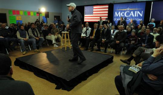 Senator John McCain, a Republican presidential candidate, spoke at a campaign event at the high school in Pelham, N.H., last week. He has gained momentum recently with several key endorsements from newspapers in both Iowa and New Hampshire.