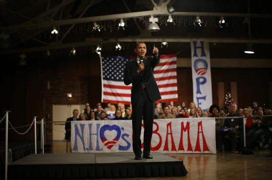 Democrat Barack Obama spoke at an event in Manchester, N.H., on Dec. 19. Political analysts and historians see a parallel with John F. Kennedy.