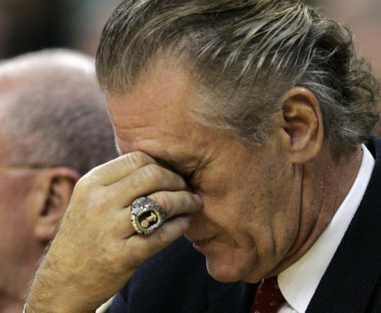 Heat coach Pat Riley doesn't appear to be in the spirit of the season in the closing moments of Miami's loss to the Cavaliers.