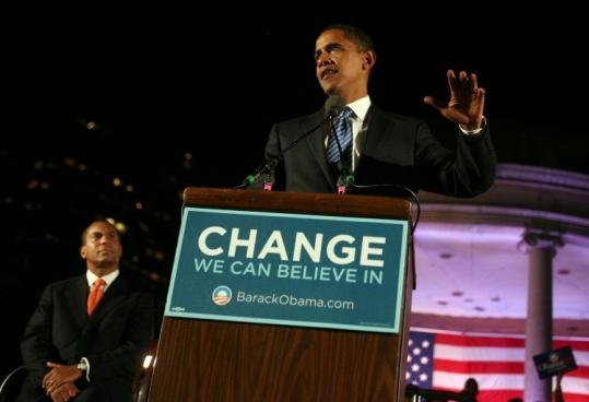 Deval Patrick plans to pitch Barack Obama directly to voters in three key states. Patrick endorsed Obama at a rally in October on Boston Common (above) that attracted almost 10,000.
