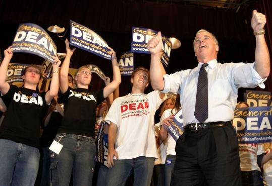 Howard Dean was cheered by hordes of volunteers after his introduction Oct. 5, 2003, at the University of Iowa. His campaign's 'perfect storm' strategy in Iowa backfired, however.