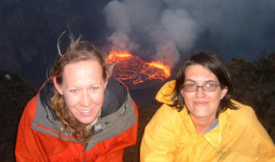 Allison Huggins (left) and Caitlin Cohen at Nyiragongo volcano in the Democratic Republic of Congo.