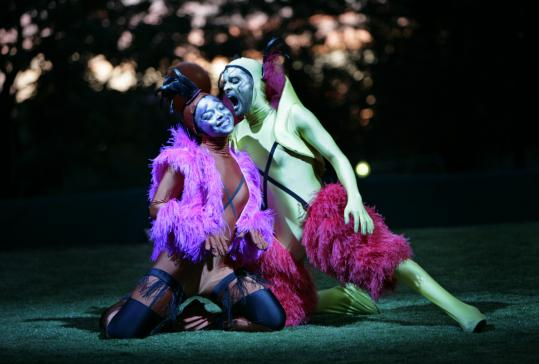 Lindsey McWhorter (left) and Antonio Edwards-Suarez performed in 'A Midsummer Night's Dream' during Commonwealth Shakespeare Company's shortened season on Boston Common.